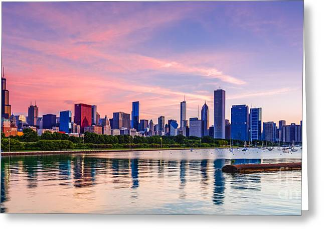 Boat Cruise Greeting Cards - Panorama of Chicago Skyline from Shedd Aquarium - Chicago Illinois Greeting Card by Silvio Ligutti