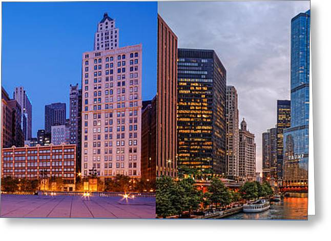 Panorama Of Cloudgate And Chicago River - Chicago Illinois Greeting Card by Silvio Ligutti