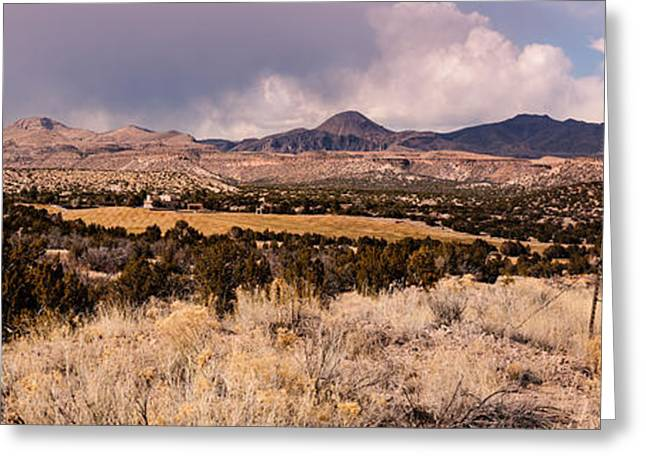 Jemez Mountains Greeting Cards - Panorama of Cochiti Lake Golf Club - Cochiti Pueblo Jemez Mountains New Mexico Greeting Card by Silvio Ligutti