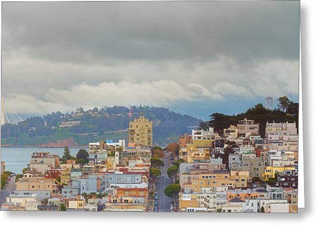 Panorama Of Coit Tower - Yerbabuena Island And Bay Area - San Francisco California Greeting Card by Silvio Ligutti