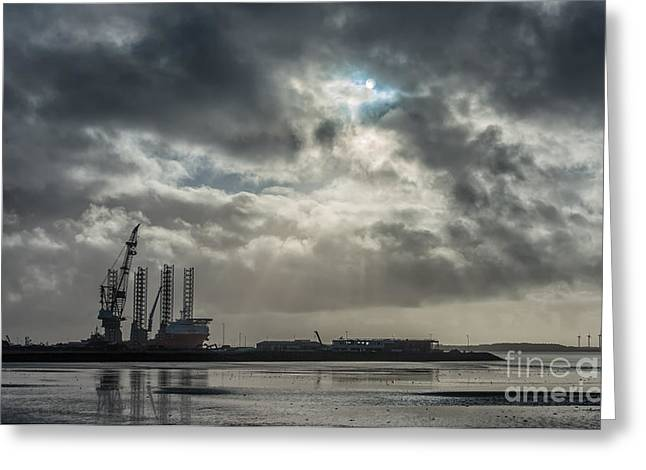 Sea Platform Greeting Cards - Panorama of Esbjerg oil harbor with rig Denmark Greeting Card by Frank Bach