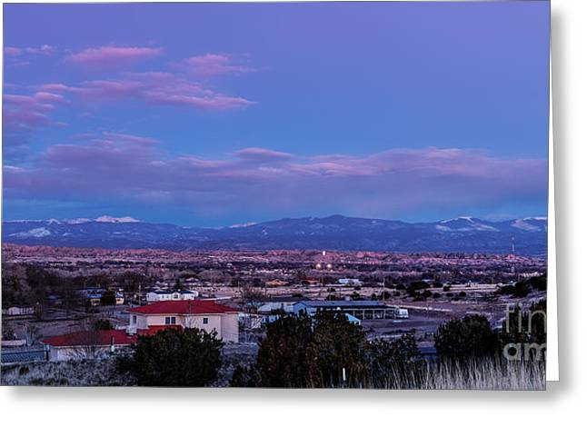 Moonrise Greeting Cards - Panorama of Espanola Valley with Sangre de Cristo Mountains during Twilight - Northern New Mexico Greeting Card by Silvio Ligutti