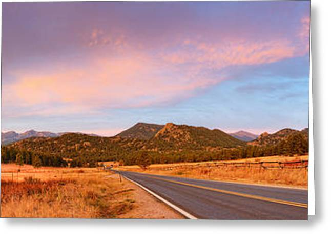 The Mummy Greeting Cards - Panorama of Estes Park Continental Divide and Lumpy Ridge - Rocky Mountains National Park Colorado Greeting Card by Silvio Ligutti