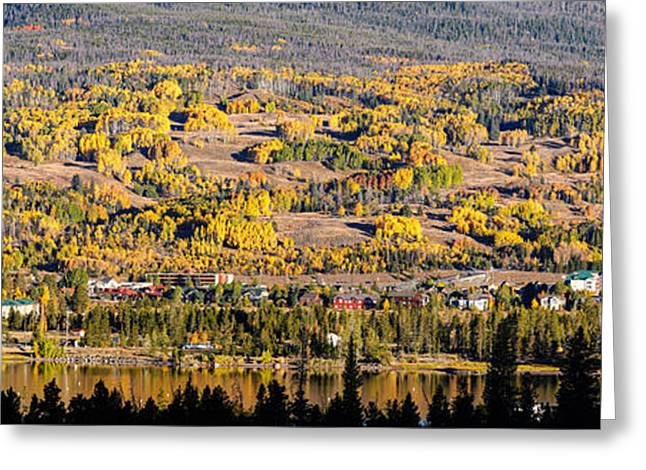 River View Greeting Cards - Panorama of Frisco with Fall Foliage Aspens - Colorado Rocky Mountains Greeting Card by Silvio Ligutti