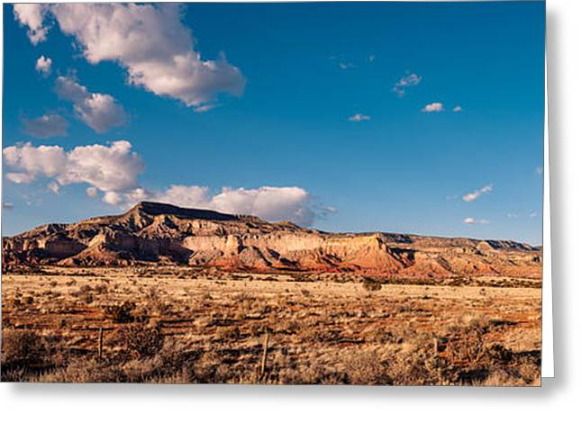 Taos Greeting Cards - Panorama of Ghost Ranch Mountains and Mesas - A Tribute to the Master - Abiquiu Northern New Mexico Greeting Card by Silvio Ligutti