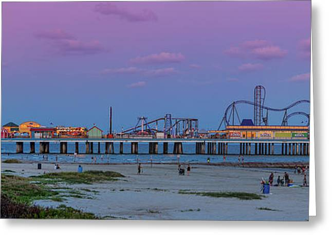 Panorama Of Historic Pleasure Pier With Full Moon Rising In Galveston Island - Texas Gulf Coast Greeting Card by Silvio Ligutti