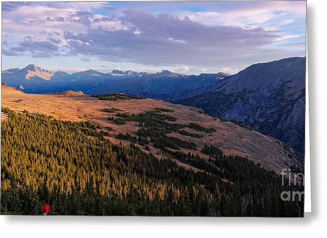 Panorama Of Longs Peak And Continental Divide From Trail Ridge Road - Estes Park Rocky Mountains  Greeting Card by Silvio Ligutti