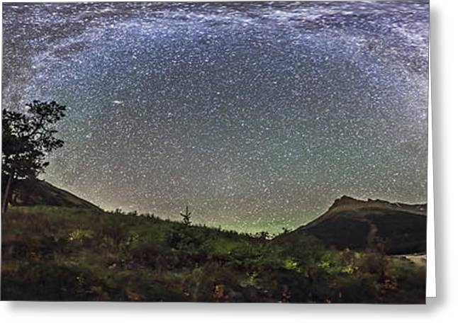 Mountain Valley Greeting Cards - Panorama Of Milky Way Over Red Rock Greeting Card by Alan Dyer