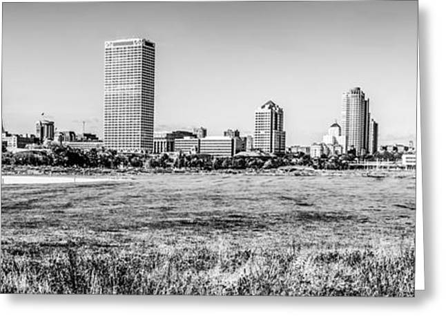 Northwestern Us Greeting Cards - Panorama of Milwaukee Skyline Black and White Picture Greeting Card by Paul Velgos