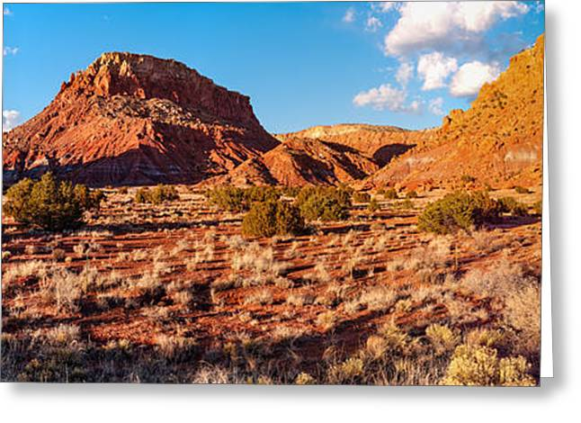Northern New Mexico Greeting Cards - Panorama of OKeefe Country near Ghost Ranch - Abiquiu Northern New Mexico Greeting Card by Silvio Ligutti