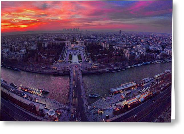 Famous Bridge Greeting Cards - Panorama of Paris Skyline at Dusk Greeting Card by David Smith