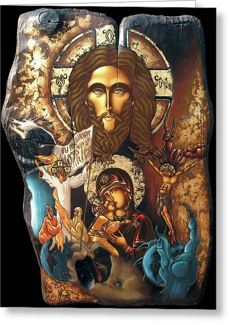 Icon Byzantine Mixed Media Greeting Cards - Panorama Of Redemption Greeting Card by Iosif Ioan Chezan