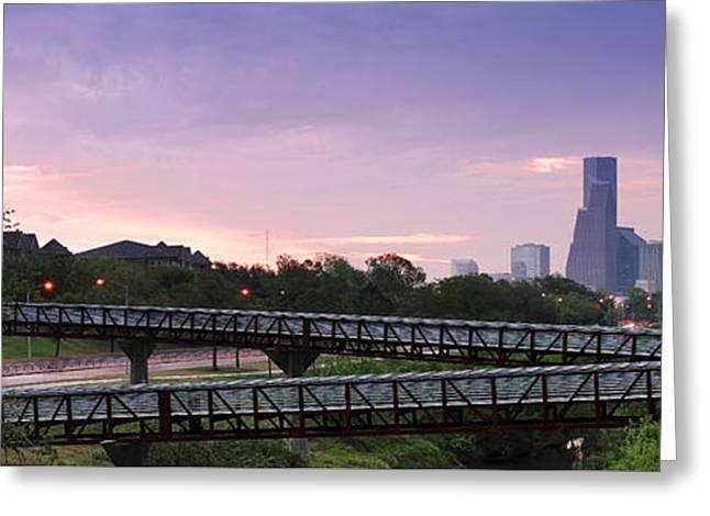 Panorama Of Rosemont Bridge Over Buffalo Bayou At Sunrise - Downtown Houston Skyline Texas Greeting Card by Silvio Ligutti