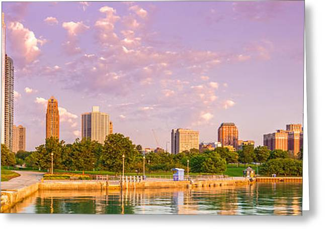 Planetarium Greeting Cards - Panorama of South Side of Chicago Skyline and One Museum Park from Shedd Aquarium - Chicago Illinois Greeting Card by Silvio Ligutti