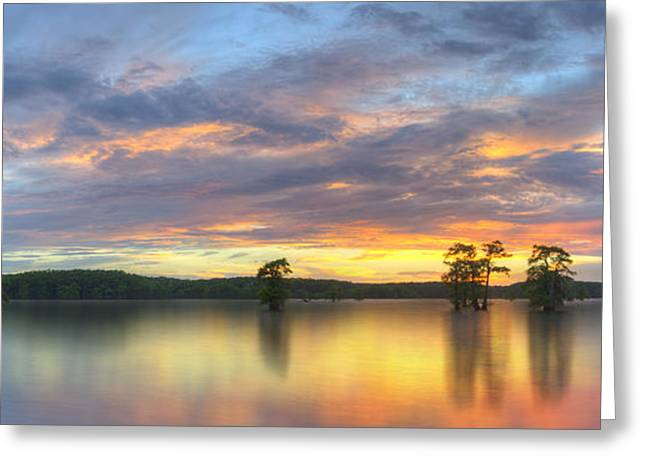 """caddo Lake"" Greeting Cards - Panorama of Sunset at Caddo Lake 1 Greeting Card by Rob Greebon"