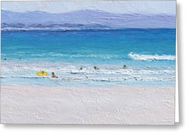 Print On Canvas Greeting Cards - Panorama of surfers at Byron Bay Greeting Card by Jan Matson