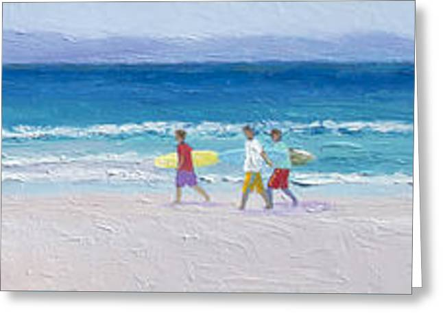 Surfer Art Greeting Cards - Panorama of surfers at Byron Bay Greeting Card by Jan Matson
