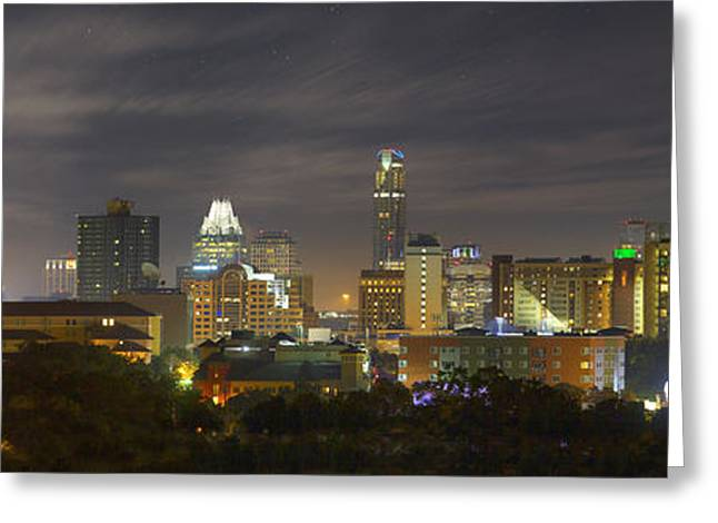 Austin Tx Greeting Cards - Panorama of the Austin Skyline on a September Morning Greeting Card by Rob Greebon
