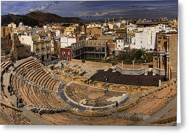 Amphitheater Greeting Cards - Panorama of the Roman Forum in Cartagena Spain Greeting Card by David Smith