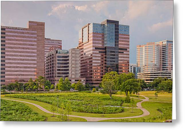 Medical Greeting Cards - Panorama of the Texas Medical Center From Fannin Street Transit Center Overpass - Houston Texas Greeting Card by Silvio Ligutti