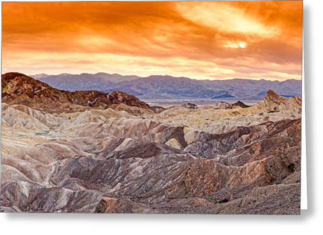 Panorama Of Zabriskie Point Manly Beacon In Death Valley National Park - Inyo County California Greeting Card by Silvio Ligutti