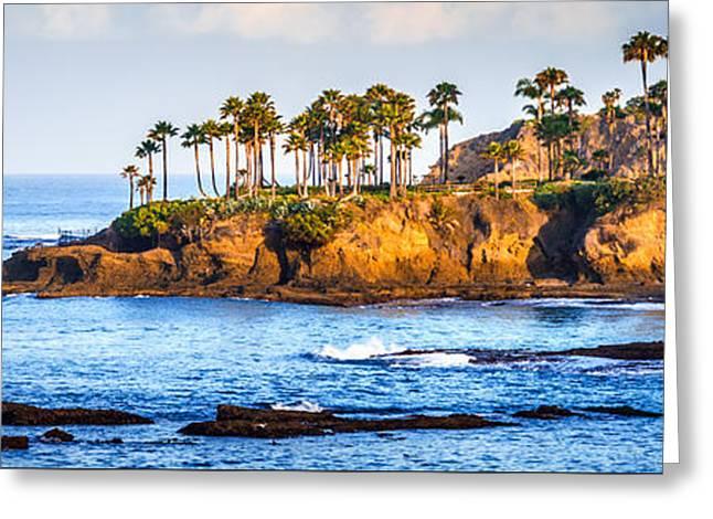 Panoramic Ocean Greeting Cards - Panorama Photo of Laguna Beach Orange County California Greeting Card by Paul Velgos