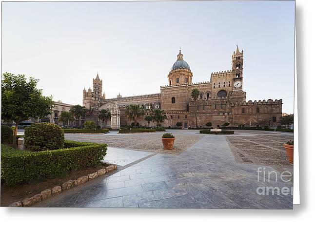 Sicily Greeting Cards - Panorama photograph of cathedral Maria Santissima Assunta Greeting Card by Wolfgang Steiner