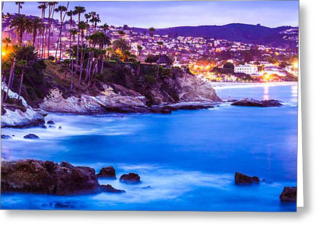 Panorama Picture Of Laguna Beach City At Night Greeting Card by Paul Velgos