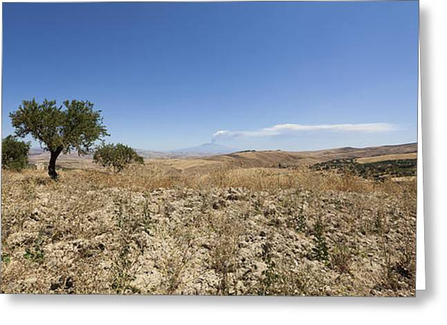 Panorama View Of Sicily With Smoking Etna Greeting Card by Wolfgang Steiner