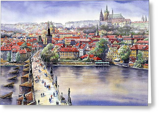 Panorama Greeting Cards - Panorama with Vltava river Charles Bridge and Prague Castle St Vit Greeting Card by Yuriy  Shevchuk