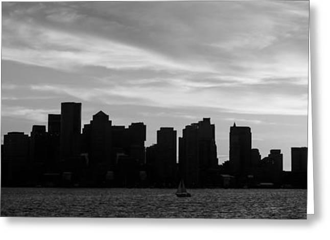 Boston Harbor Greeting Cards - Panoramic Boston Skyline Black and White Photo Greeting Card by Paul Velgos