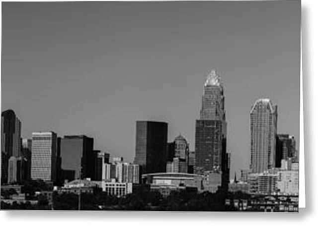 Charlotte Digital Greeting Cards - Panoramic Charlotte - Black and White Greeting Card by Fred Koehl