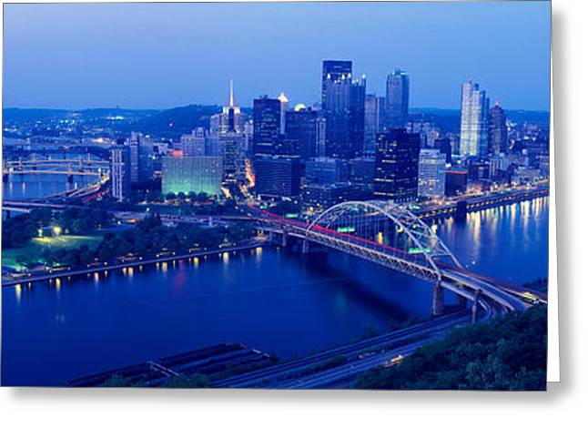 Panoramic Evening View Of Pittsburgh Greeting Card by Panoramic Images
