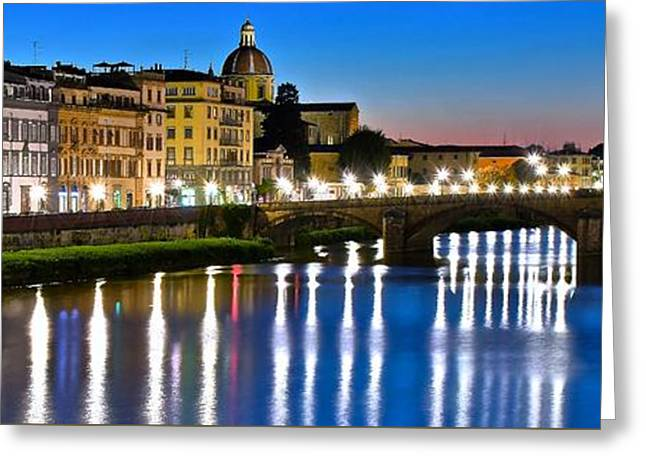 Panoramic Florence Italy Greeting Card by Frozen in Time Fine Art Photography