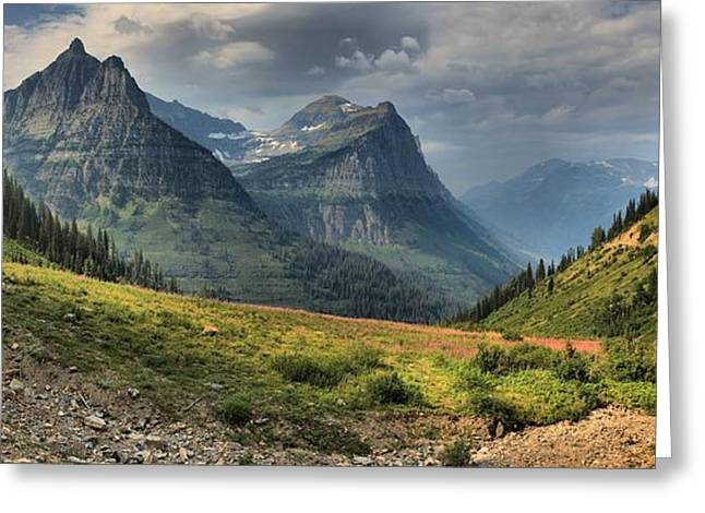 West Glacier Greeting Cards - Panoramic Glacier Big Bend View Greeting Card by Adam Jewell