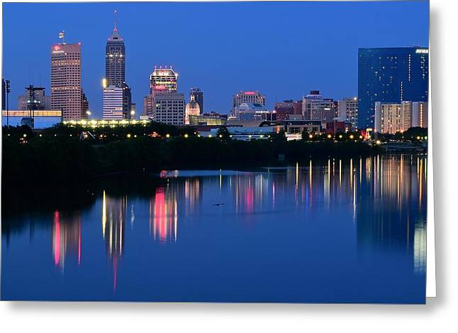 Basketballs Greeting Cards - Panoramic Indianapolis Greeting Card by Frozen in Time Fine Art Photography
