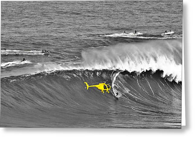 Surfer Art Greeting Cards - Panoramic Jaws BW Greeting Card by Angelina Hills