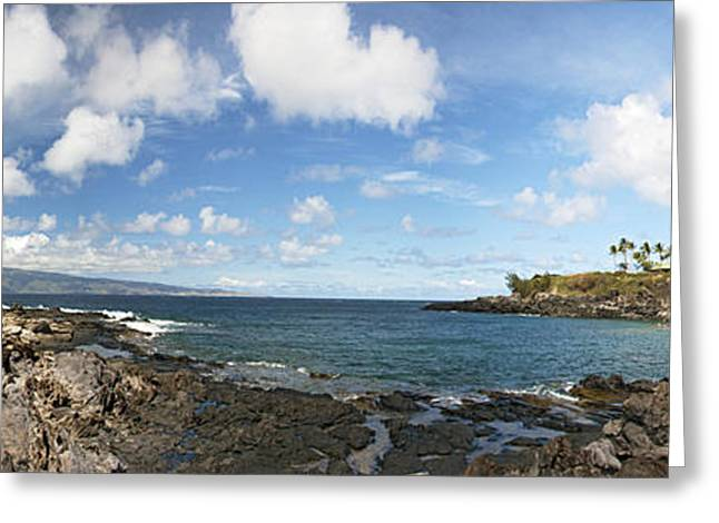Enjoying Greeting Cards - Panoramic Kapalua Beach Resort Greeting Card by Dave Fleetham - Printscapes