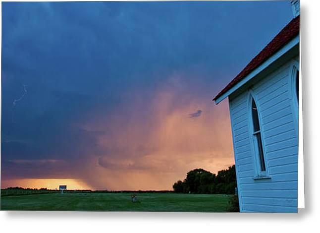 Panoramic Lightning Storm And Church Greeting Card by Mark Duffy