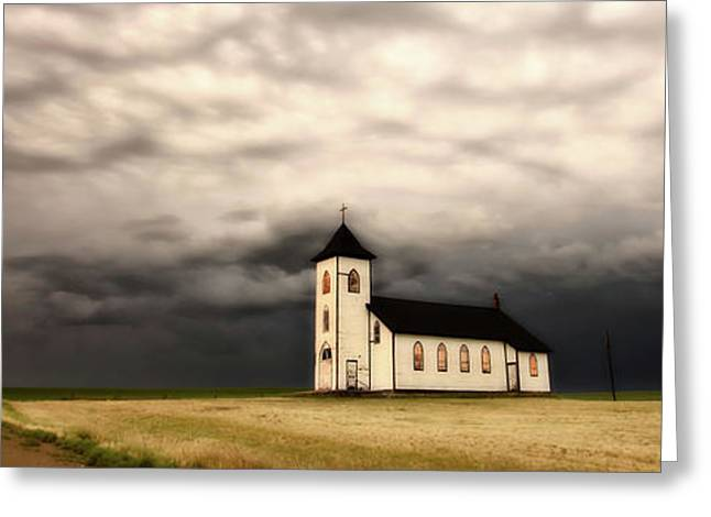 Panoramic Lightning Storm And Prairie Church Greeting Card by Mark Duffy
