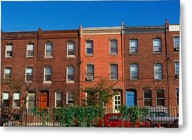 Panoramic Morning View Of Red Brick Row Greeting Card by Panoramic Images