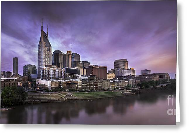 Nashville Tennessee Greeting Cards - Panoramic Nashville Morning  Greeting Card by Desmond Lake
