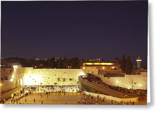 Mideast Greeting Cards - Panoramic night view of the Wailing Wall  Greeting Card by Alon Meir