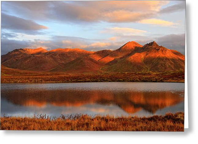 Horizontal Panorama Greeting Cards - Panoramic Of Sunrise Over Mount Adney Greeting Card by Robert Postma