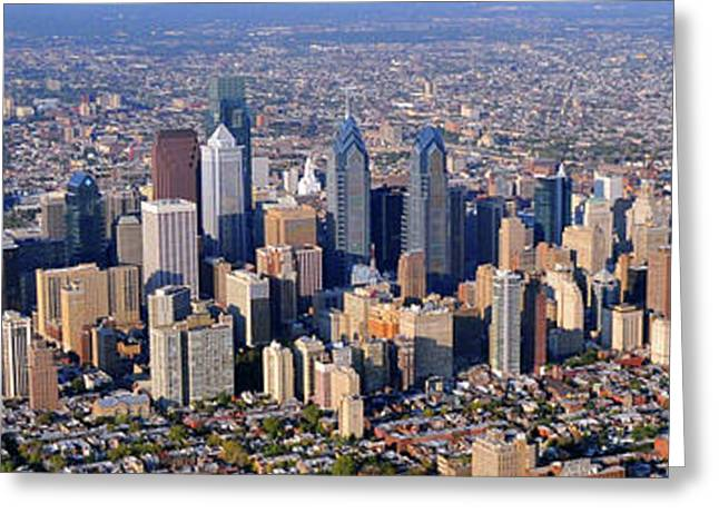 Panoramic Philly Skyline Aerial Photograph Greeting Card by Duncan Pearson