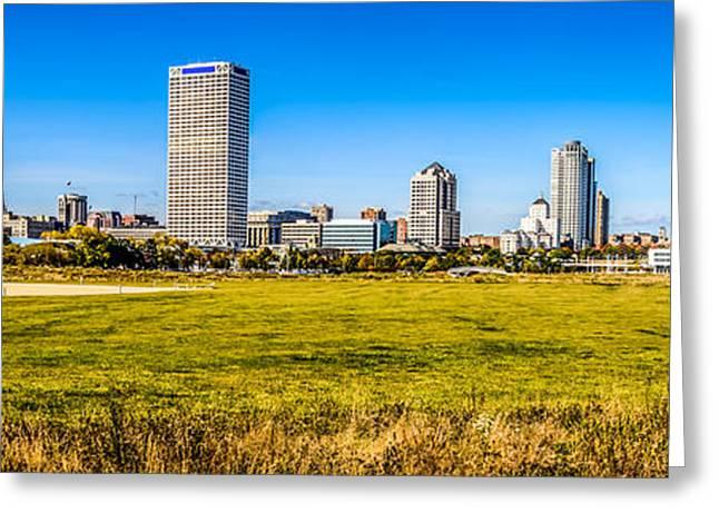Panoramic Photo Of Milwaukee Skyline At Lakeshore State Park Greeting Card by Paul Velgos