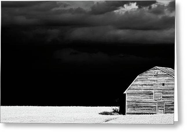 Abstract Rain Greeting Cards - Panoramic Prairie Storm and Barn Greeting Card by Mark Duffy