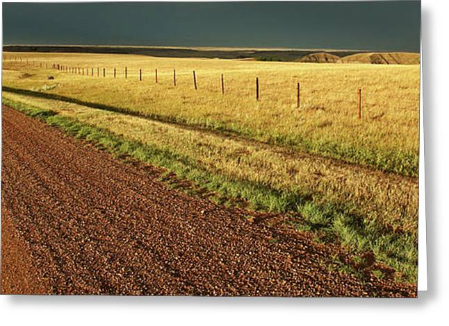 Storm Digital Greeting Cards - Panoramic Prairie Storm Canada at Sunset Greeting Card by Mark Duffy
