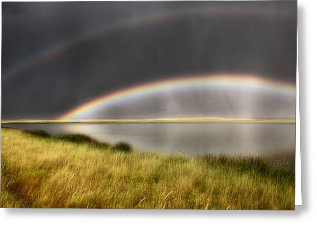 Abstract Rain Greeting Cards - Panoramic Storm in the Marshes Greeting Card by Mark Duffy