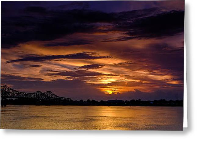 Panoramic Sunset At Natchez Greeting Card by T Lowry Wilson